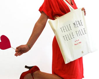 """""""Such mother such a girl"""" bag, Mother's Day, Tote bag to customize, mom, shopping bag, cloth bag, cotton, French, gift"""