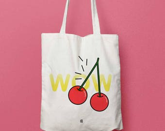 "Bag ""Summer Fruit - cherry"" Tote bag or beach bag, fabric for the summer bag with tassels"
