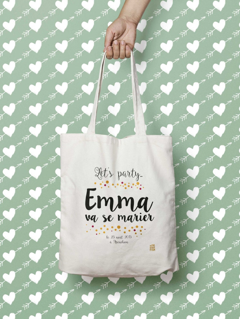 Tote bag personalized rustic wedding bachelorette party image 0