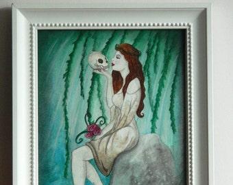 Original Art - Ophelia Watercolour Painting - William Shakespeare Love Death Story Gothic Fantasy Fairytale Skull Willow Roses Hamlet