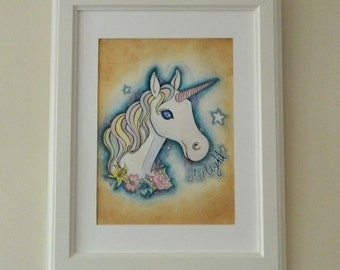 Original Art - Unicorn Watercolour Painting - Starlight Childrens Kids Bedroom Fantasy Fairytale Flowers Girls Princess Pastel Rainbow