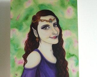 Art Print - Elven Princess Fantasy Elf Maiden Spring Pagan Headpiece Purple Queen Medieval Fairy Forest Magic Inspired