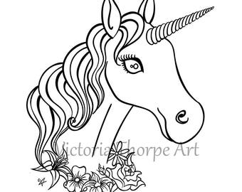 Digi Stamp Unicorn Printable - Digital Download Print at Home - Fantasy Art Fairytale Make Craft Flowers Garland Horse Magical Companion