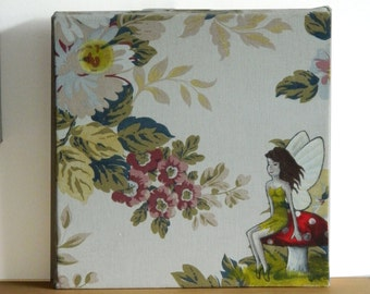 SALE ORIGINAL ART - Pretty Fairy Painting Toadstool Flowers Fantasy Childrens Story Fairytale Canvas Original Vintage Print Fabric Beauty Uk