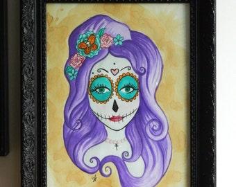 Origianl Art - Day of the Dead Watercolour Painting  Día de Muertos Sugar Skull Candy Purple Death Gothic Flowers Mexican Pastel Goth