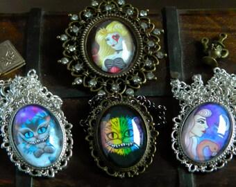 Necklaces - Alice in Wonderland Handmade Artwork Cheshire Cat Queen of Hearts Rainbow Flamingo Fantasy Art Galaxy Fairytale Story Cabochon