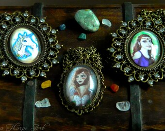 Necklaces - Fantasy Handmade Unicorn Elven Princess Warrior Fairytale Armour Mythical Magical Elf Hobbit Skyrim Elder Scrolls Cabochon