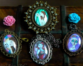 Necklaces - Pretty Spooky Handmade Artwork Ophelia Skull Day of the Dead Witch Zombie Crimson Floral Art Nouveau Green Purple Cabochon