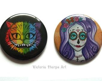 Large Fridge Magnet - Character Original Artwork Beauty Cosmetic Cheshire Cat LGBT Rainbow Day of the Dead Skull Dia De Los Muertos Floral