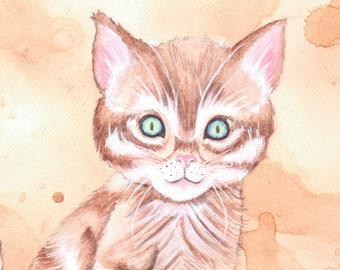 SALE Original Art - Kitten - Cat Brown Tabby Tiger Cute Yarn Blue Green Eyes