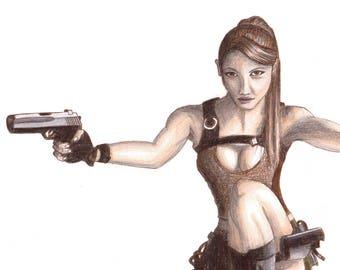 SALE Original Lara Croft Fan Art - Tomb Raider Gamer Pencil Drawing Sketch Guns Coloured Pistols Adventurer Warrior Relic Hunter Explorer