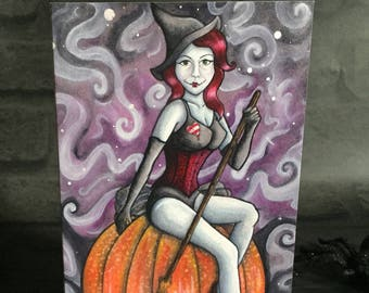 Greeting Card - Witch Pin Up Witchcraft Gothic Goth Pumpkin Halloween Wiccan Pagan Zombie Corset Red Hair Crimson Lady Purple Nightmare UK