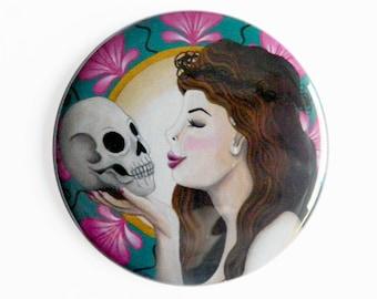 Pocket Mirror - Ophelia Art Nouveau - Pink Flowers Green Emerald Skull Goth Gothic Shakespeare Hamlet Opheliac Victorian Edwardian