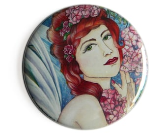 Pocket Mirror - Fairy Faerie Blossom Pagan Flowers Ivy Garden Pagan Art Pink Green Compact Woodland Nature