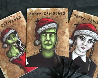 Christmas Cards - Alternative Parody Creepy Goth Gothic Frankenstein Wednesday Addams Family Santa Zombie Bride Vintage Style Dark Art UK