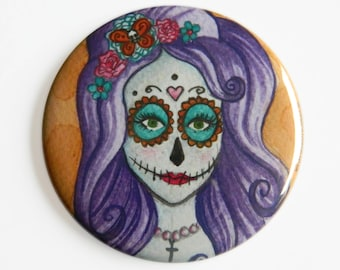 Pocket Mirror - Day of the Dead - Día de Muertos Sugar Skull Candy Purple Death Life Gothic Flowers Mexican Pretty Beauty Goth
