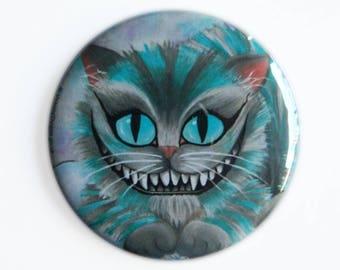 Pocket Mirror - Cheshire Cat with Velvet bag - Cheshire Cat Alice in Wonderland Alternative Kitty Puss Grin Teeth UK Compact Mirror