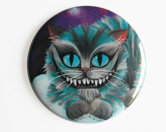 Pocket Mirror - Baby Cheshire Cat - Alice in Wonderland Kitten Puss Cat Lady Galaxy Space Stars Astral Dream Surreal