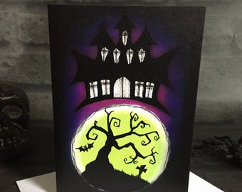 Greeting Card - Haunted House Blank Inside Fantasy Goth Horror Dark Spooky Creepy Gothic Cute Grave Yard Bat Tree Moon Glow Tree Moon Art