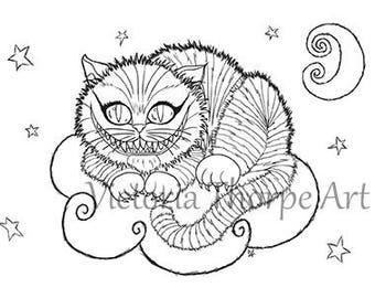 Digi Stamp Cheshire Cat Printable - Digital Download Print at Home - Alice in Wonderland Kitten Baby Cute Card Making Scrapbooking