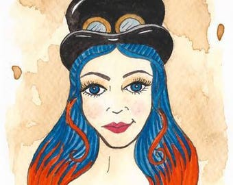 Original Art - Steampunk Orange and Blue - Top Hat Goggles Bright Punk Rocker Tea Corset British
