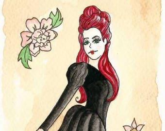 Original Art - Gothic Rococo - Pretty Dark Fantasy Flowers Goth Witch Historical Red Hair Emilie Autumn Inspired Circus Freak Show Asylum