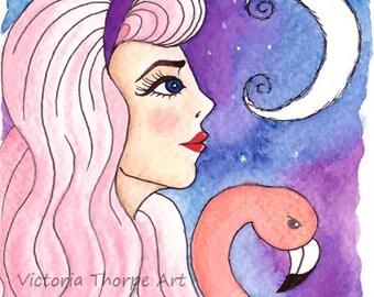 Original Art - Alice Pastel Goth - Watercolour Painting Postcard Flamingo Moon in Wonderland Night Sky Cute Kawaii Fantasy Gothic UK