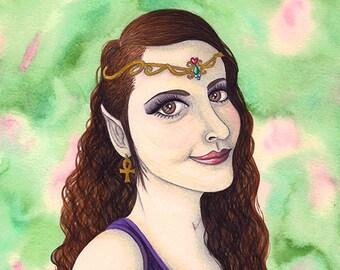 Original Art - Elven Princess - Fantasy Maiden Elf Fairy Queen Pretty Female Muse Woodland Spring