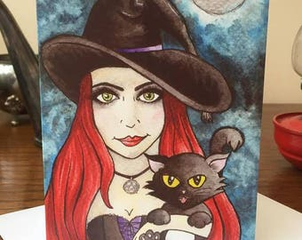 Greeting Card - Witch with Black Cat Gothic Blank Inside Note Card Goth Wicca Witch Red Hair Birthday Witchcraft Cute Character Halloween