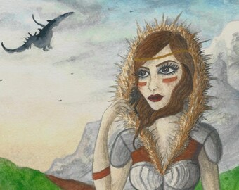 Original Art - Aryevetta - Skyrim Inspired Warrior - Game of Thrones Style Character Dragonborn Mountains RPG Fantasy Dragon Elder Scrolls