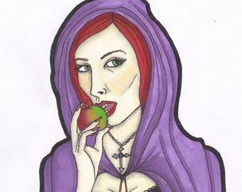 SALE Original Art - Halloween - Cloak Apple Poison Snow White Gothic Goth Dark Fantasy Spooky Purple Red Hair pro marker pen illustration