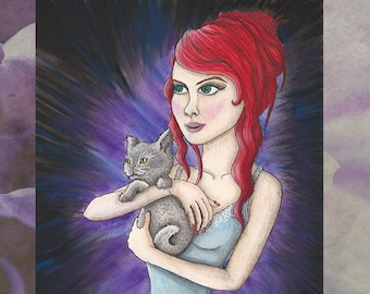 Greeting Card - Blank Inside Cat Kitten Red Hair Night Dress Real Life Alice in Wonderland Fantasy Dark Rocker Purple Art