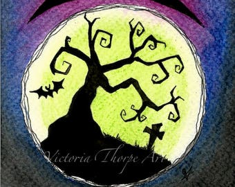 Original Art - Haunted House - Spooky Halloween Gothic Goth Creepy Horror Tombstone Tree Mansion Bat Silhouette Moon Purple Blue Green