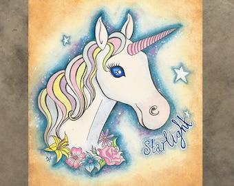 Greeting Card - Unicorn Starlight Flowers Floral Galaxy Space Horse Pastel Cute Kawaii Pretty Stars Magic Fantasy Fairy Land Kids Childrens