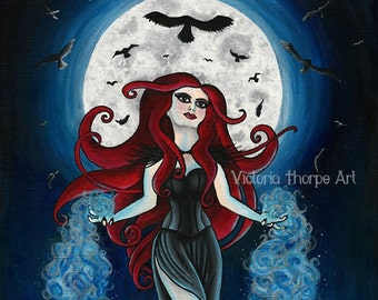 Art Print - The Morrigan - Pagan Celtic Goddess Raven Skull Sheild  Morrighan Morrioghain Phantom Queen Dark Gothic Red Goth Wicca UK
