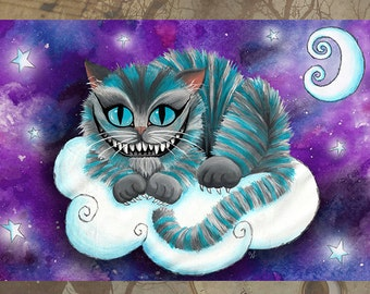Greeting Card - Baby Cheshire Cat Alice in Wonderland - Blank Dark Art Birthday Thank You Galaxy Gothic Space Moon Goth Fantasy Moon Stars