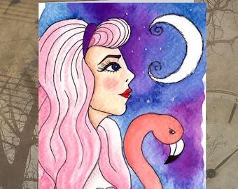 Greeting Card - Blank Inside Alice in Wonderland Dark Art Birthday Thank You Pastel Goth Flamingo Fantasy Moon Pink Purple