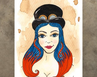 Greeting Card - Steampunk Blank Inside Top Hat Goggles Tea Lady Bright Hair Cute Pretty Goth Corset Pin Up Portrait Illustration