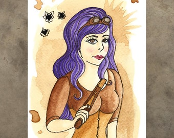 Greeting Card - Steampunk Blank Wild West Gunslinger Goggles Tea Lady Purple Hair Gun Cute Pretty Pastel Goth Shoot Bullet Holes Corset