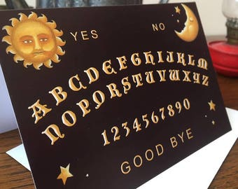 Greeting Card - Ouija Board Gothic Blank Inside Note Pastel Goth Wicca Sun Moon Death Spirits Occult Witch Horror Dark Spooky Creepy Macabre