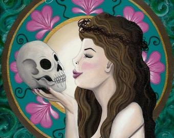 Original Art - Ophelia Art Nouveau - Acrylic on Canvas -Colourful Skull Pretty Feminine Kiss Hamlet William Shakespeare Opheliac Pastel Goth