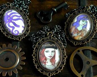 Neckalces - Steampunk Handmade Artwork Octopus Beach Goggles Vintage Inspired Gunslinger Pistol Gun Cute Top Hat Red Purple Hair UK Cabochon