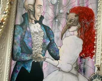 A4 Art Print - Masquerade Ball Labyrinth Inspired Grim Reaper and Fallen Angel Dark Fantasy Spooky Pastel Goth Witch Death Artist