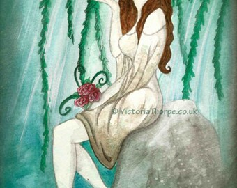 Art Print - Ophelia A4 William Shakespeare Hamlet Skull Ghost Spirit River Lake Willow Tree Dusk Moonlight Poster UK Artist Death