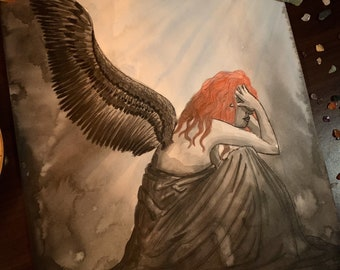 Original Art - Sloth 7 Deadly Sins Watercolour Painting Broken Fallen Angel Inktober Gothic Fantasy Dark Art