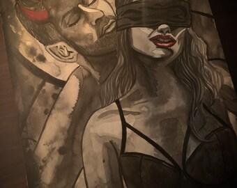 Original Art - Incubus Watercolour Painting Ink Inktober Gothic Fantasy Dark Art Demon Evil Sexy Pin Up Halloween Couple