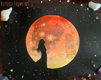 Original Art - Blood Moon Watercolour Painting Ink Inktober Halloween Spiritual Fantasy Witch Wicca Pagan