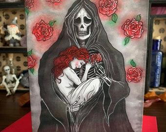 Greeting Card - Grim Reaper Gothic Goth Death Demon Girl Fallen Angel Fantasy Art Valentines Day Alternative Love