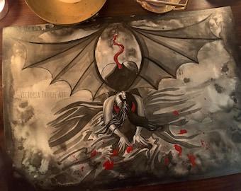 Original Art - Succubus Watercolour Painting Ink Inktober Gothic Fantasy Dark Art Demon Evil Sexy Pin Up Halloween