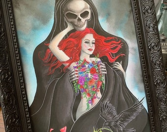 A4 Art Print - Reaper with Flowers - Demon Girl Gothic Fantasy Grim Reaper Dark Macabre - Death Love